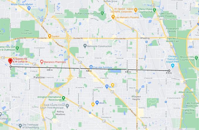 Cessna Emergency Landing Distance to Chicago Executive Airport, Thursday, September 17, 2020