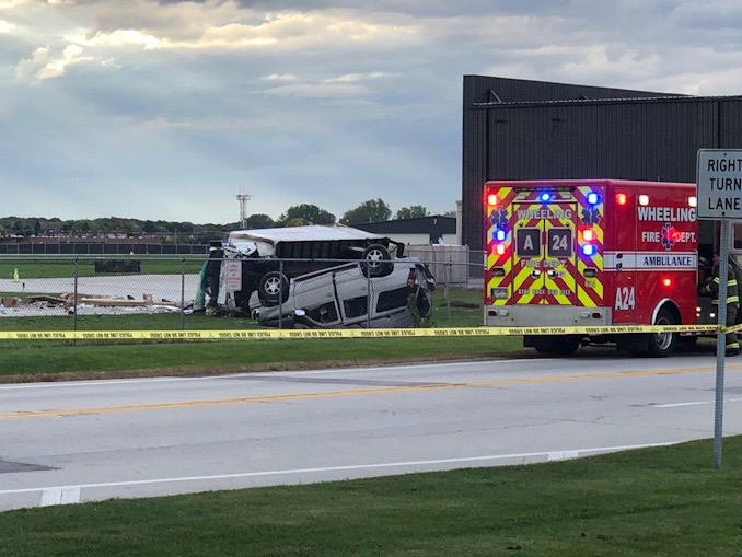 Truck SUV crash at Wolf Rod and Messner Drive, Wheeling