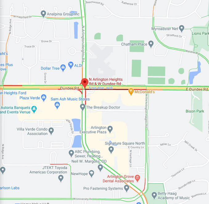 Dundee and Old Arlington Heights Road crash map Saturday, September 12, 2020