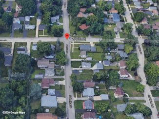 Home invasion shooting death scene on Frolic Avenue near Monroe Street in Waukegan (aerial view ©2020 Google Maps)