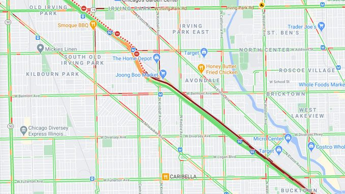 Truck crash with motorycle on outbound Kennedy Expressway just north of Addison Street, Chicago (Google Map Traffic Layer)