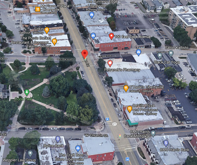 Milwaukee Avenue and Cook Avenue Aerial View (©2020 Google Maps)