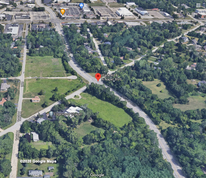 Naper Boulevard and Plank Road Aerial View (©2020 Google Maps)