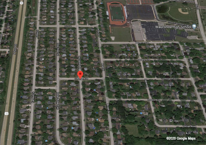Armed robbery scene map Saturday, September 19, 2020 Old Country Way Wauconda Aerial View (©2020 Google Maps)