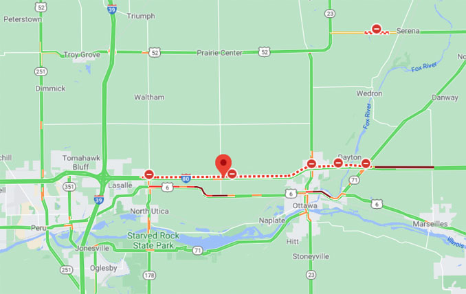 Ottawa I-80 Crash Closure Map Friday, September 25, 2020