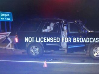 Chevy Tahoe with person shot on Route 41 in Lake Forest, Tuesday, September 16, 2020