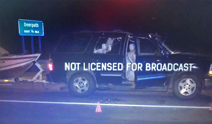 Chevy Tahoe with person shot on Route 41 in Lake Forest, Wednesday, September 16, 2020
