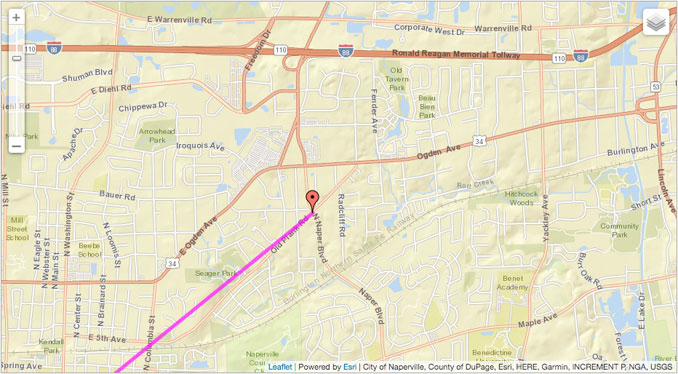 Solar Azimuth (Lavender Line) Friday SEP 25 2020 Naper Boulevard and Plank Road, Lisle Township (SOURCE: NOAA/Esri/City of Naperville, County of DuPage, Esri, HERE, Garmin, INCREMENT P, NGA, USGS)