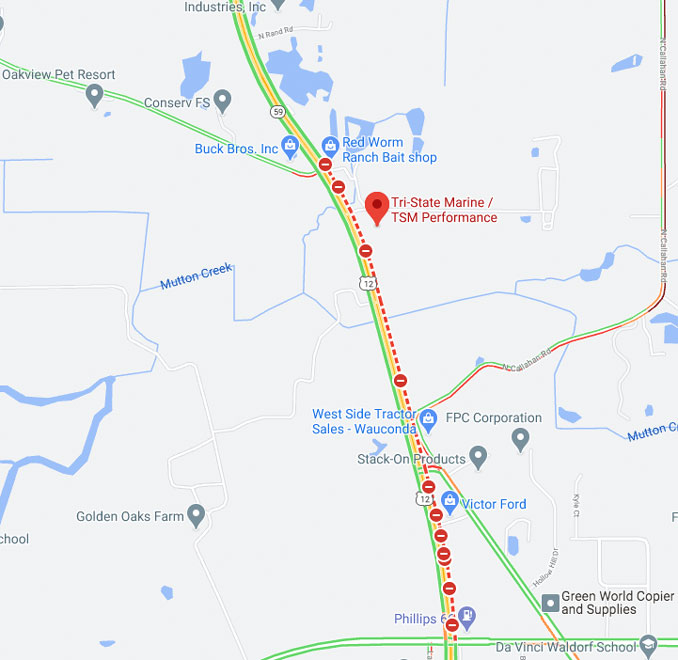 Wauconda Crash Map, Friday, September 25, 2020 on US12/IL-59 near Tri-State Marine (©2020 Google Maps)