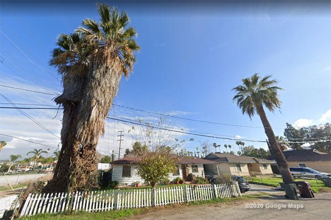 Block of 1200 Spring Street in Riverside, California Street View (©2020 Google Maps)