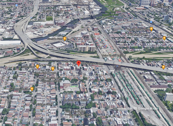 26th Street and Normal Avenue in Chicago Aerial View (©2020 Google Maps)
