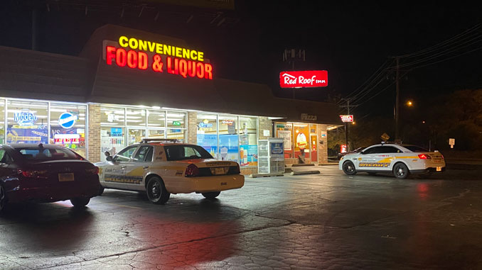 Cook County Sheriff's Police at scene investigating an Attempt Armed Robbery at Pedro's Pizza at Rand Road and Route 53