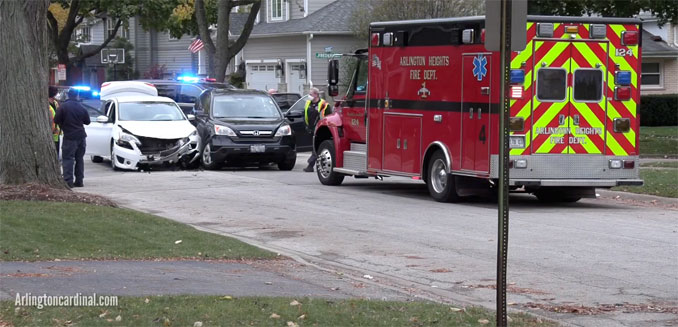 Ambulance 4 on scene at intersection crash at Beverly Avenue and Frederick Street in Arlington Heights