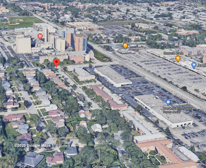 Carol Street and Western Avenue Aerial View (©2020 Google Maps)