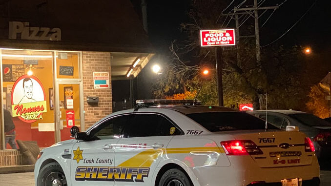 Cook County Sheriff's Police at scene investigating an Attempt Armed Robber at Pedro's Pizza at Rand Road and Route 53