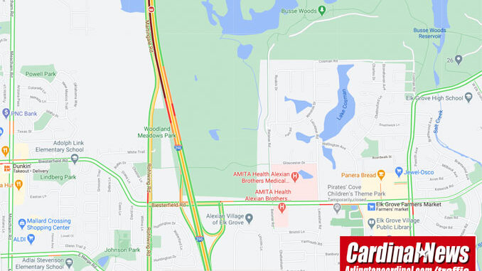 Crash map on southbound IL-53/I-290 between Higgins Road and Biesterfield Road near Schaumburg on Friday, October 30, 2020 (Map data ©2020 Google)