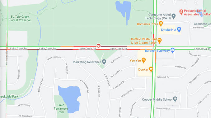 Crash Map Lake Cook Road and Ridge Avenue, Arlington Heights on Thursday, October 29, 2020 (Map data ©2020 Google)