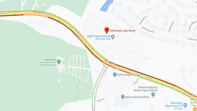 Crash Map Lake Street and Sayer Road, Streamwood (©2020 Google Maps)