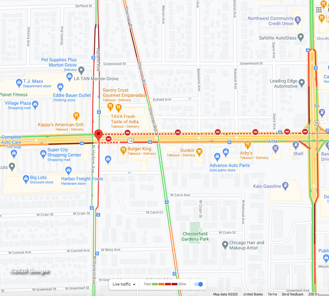 Crash at Dempster Street and Harlem Avenue Map View (©2020 Google)