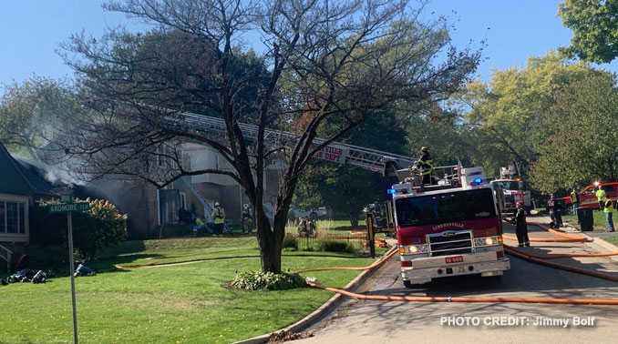 Two house on fire on Briar Place near Ardmore Terrace in Libertyville, October 6, 2020 (PHOTO CREDIT: Jimmy Bolf)