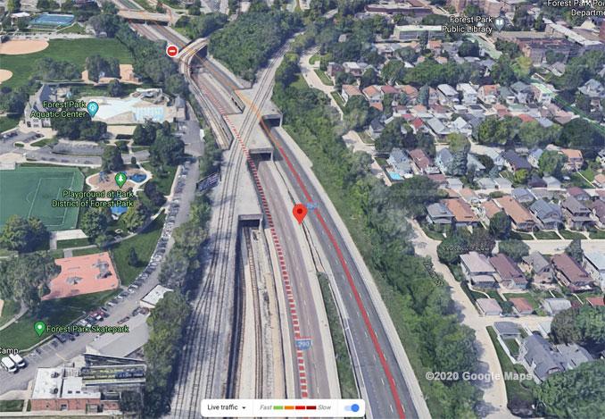 Inbound I-290 fatal crash near Harlem Avenue Forest Park on Friday, October 16 2020 Aerial View (©2020 Google Maps)
