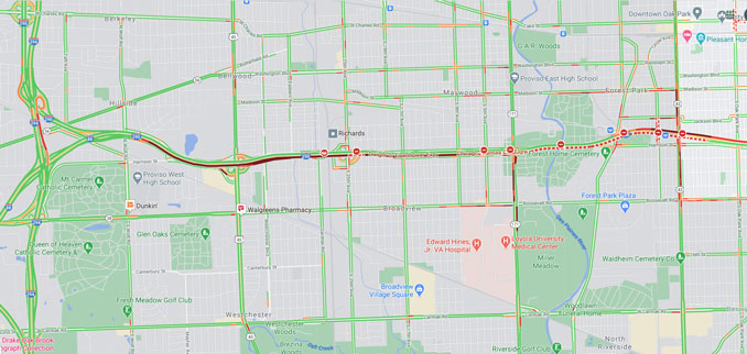 Inbound I-290 fatal crash near  Harlem Avenue Forest Park on Friday, October 16 2020 Traffic Layer (©2020 Google Maps)