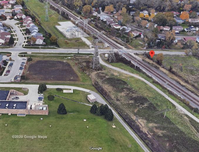 Kensington Road and CN railroad AerialView (©2020 Google Maps)