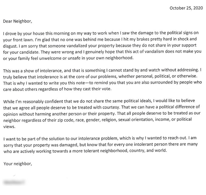 Letter to neighbor about Trump-Pence campaign sign defacement in an Arlington Heights neighborhood