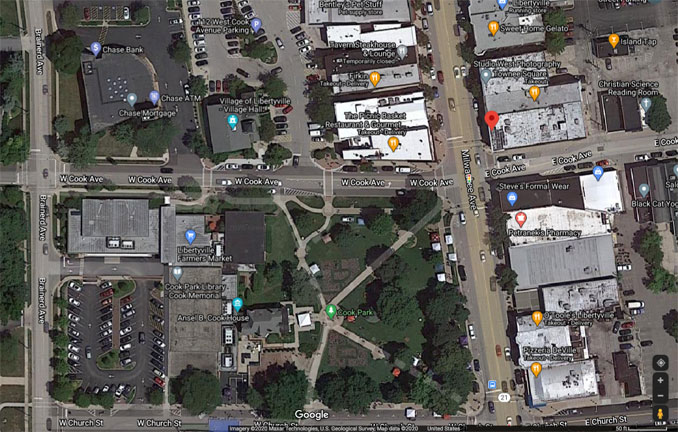 Cook Avenue from Milwaukee Avenue to Brainerd Avenue in downtown Libertyville, Aerial View (Imagery ©2020 Maxar Technologies, U.S. Geological Survey, Map data ©2020 Google)