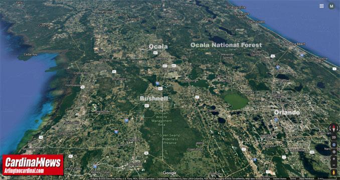 Ocala National Forest (Imagery ©2020 Landsat / Copernicus, Google, TerraMetrics, Data SIO, NOAA, U.S. Navy, NGA, GEBCO, Imagery ©2020 TerraMetrics, Map data ©2020 Google United States)