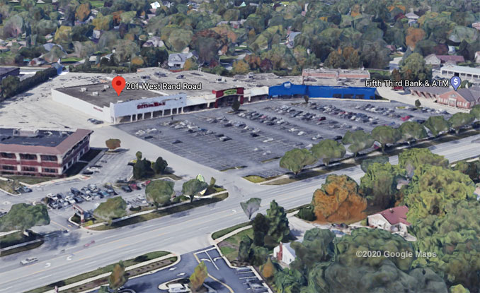 OfficeMax at 201 West Rand Road in Mount Prospect Aerial View (©2020 Google Maps)