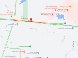 Rollover crash Route 22 east of Kelsey Road, Lake Barrington, Saturday October 17, 2020 (©2020 Google)