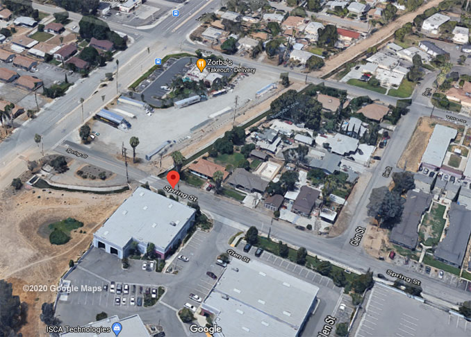 Spring Street and Iowa Avenue, Riverside, California, Aerial View (©2020 Google Maps)