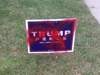 Trump Pence campaign sign defaced in south side neighborhood in Arlington Heights, 3:48 a.m. to 3:55 a.m. on Sunday, October 25, 2020