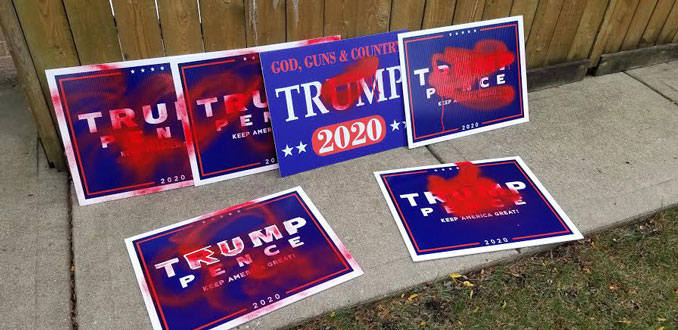 Trump-Pence campaign signs defaced in south side neighborhood in Arlington Heights