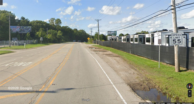 Northbound US-45 near Route 173 and Gander RV in Antioch Township (©2020 Google)