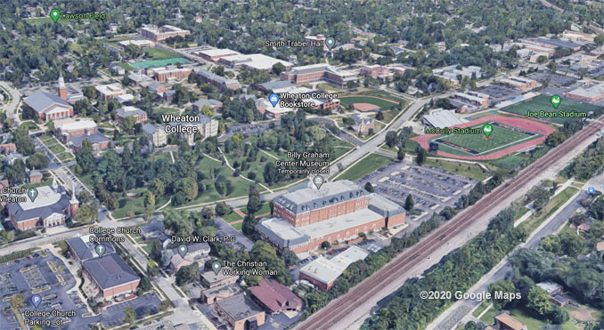 Wheaton College Aerial View (©2020 Google Maps)