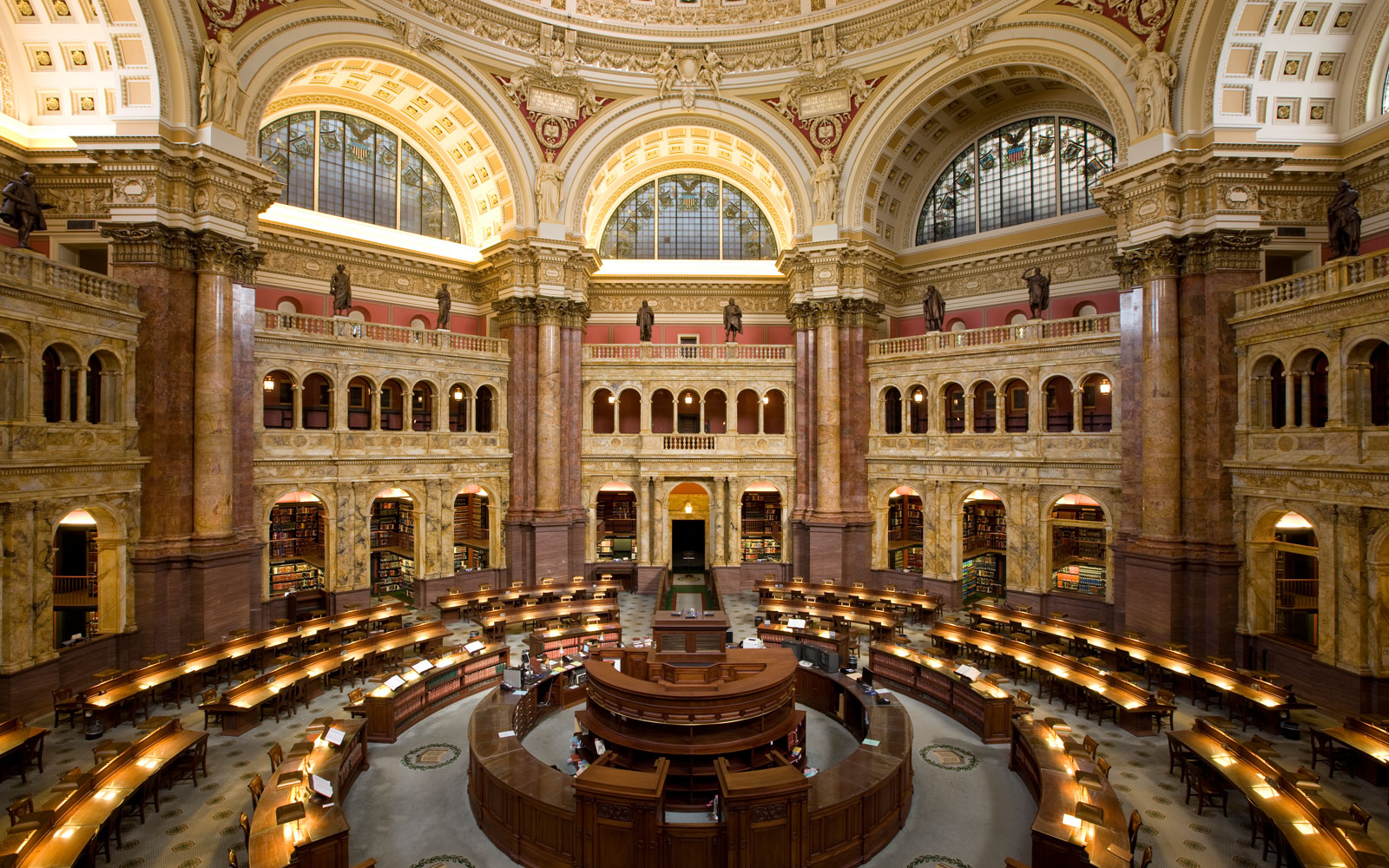 Library of Congress Reading Room -- Reading room of the Library of Congress's historic Thomas Jefferson Building, Washington, D.C. (PHOTO CREDIT: Carol M. Highsmith)