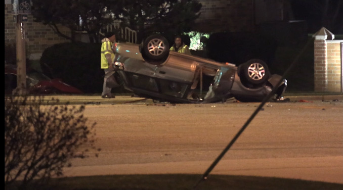 Rollover Crash with three hurt at Irving Park Road and Rodenberg Road in Schaumburg Sunday night