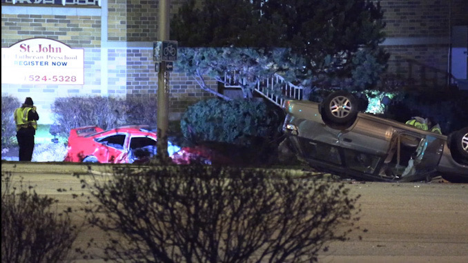 Rollover Crash with three hurt at Irving Park Road and Rodenberg Road in Schaumburg Sunday night.