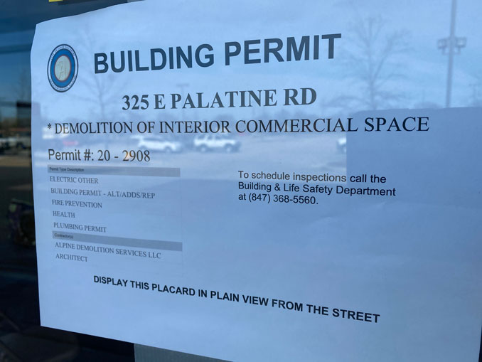 Building Permit for 325 East Palatine Road in Arlington Heights -- former Dominick's site