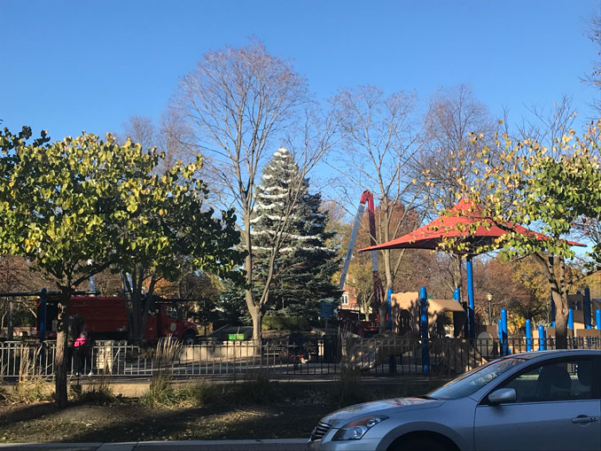Christmas Tree or Holiday Tree setup for 2020 at North School Park