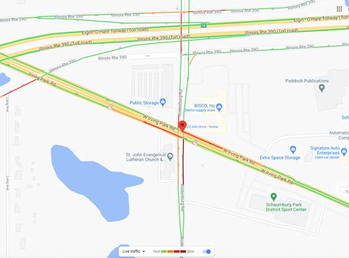 Crash Traffic Map at Rodenburg Road and Irving Park Rd (IL-19) in Schaumburg (Map data ©2020 Google)