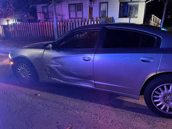 DUI crash damage to Lake County Sheriff's police squad car in Waukegan (SOURCE: Lake County Sheriff's Office)