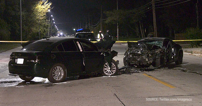 Head-on crash on McAree Road near Sycamore Drive in Waukegan (SOURCE: Twitter.com/ImagesCu)