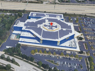 IKEA on McConnor Parkway in Schaumburg with a large array of solar panels on the roof (Imagery ©2020 Google, Imagery ©2020 Maxar Technologies, U.S. Geological Survey, Map data ©2020)