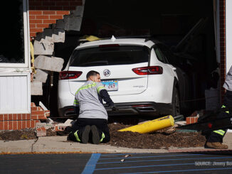 Car vs. building crash at BMO Harris Bank in Fox River Grove, Illinois showing failed bollard (PHOTO CREDIT: Jimmy Bolf)