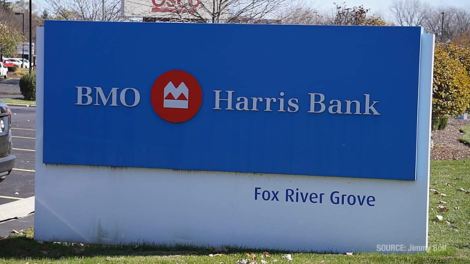 Car vs. building crash at BMO Harris Bank in Fox River Grove, Illinois showing failed bollard (PHOTO CREDIT: Jimmy Bolf)