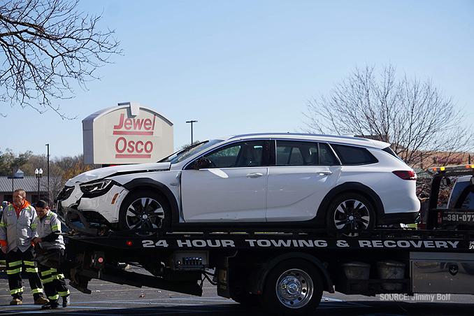 Car vs. building crash at BMO Harris Bank in Fox River Grove, Illinois showing failed bollard