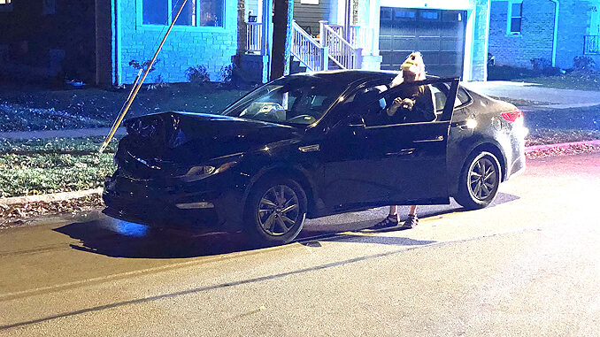 Car vs. parked pickup truck on Belmont Avenue north of Euclid Avenue in Arlington Heights